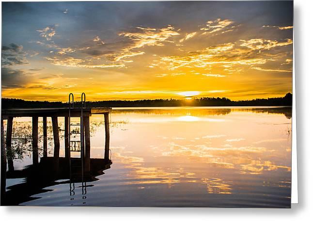 Golden Sunset Greeting Card by Parker Cunningham