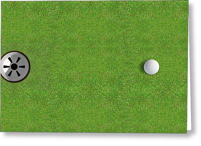 Sink Holes Greeting Cards - Golf Hole With Ball Approaching Greeting Card by Allan Swart