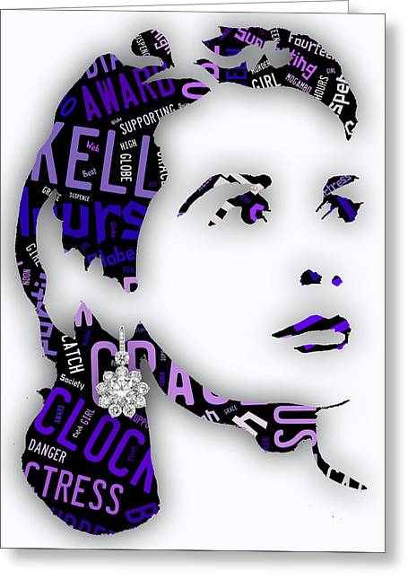Grace Kelly Movies In Words Greeting Card by Marvin Blaine