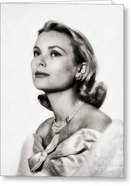 Grace Kelly, Vintage Hollywood Actress Greeting Card by John Springfield