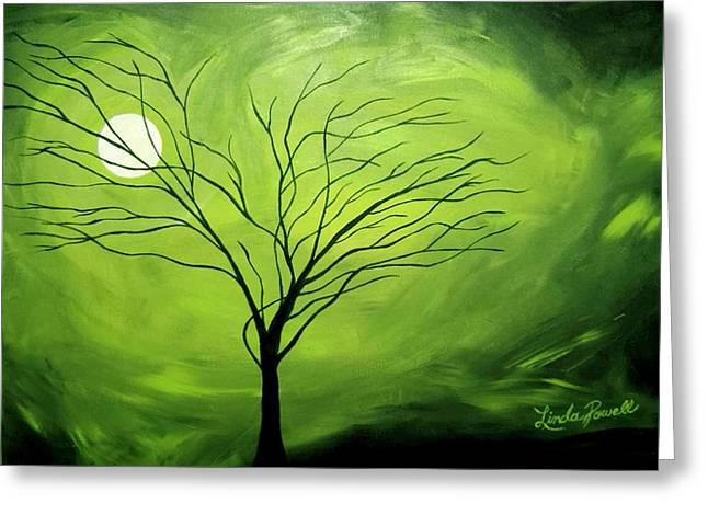 Green Night I Greeting Card by Linda Powell