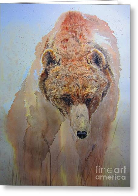 Grizzly Greeting Card by Laurianna Taylor