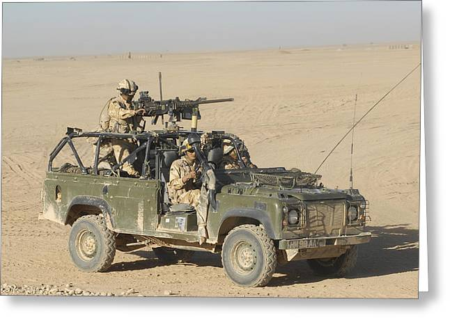 Driving Machine Greeting Cards - Gurkhas Patrol Afghanistan In A Land Greeting Card by Andrew Chittock