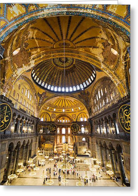 Hagia Sophia Interior Greeting Card by Artur Bogacki