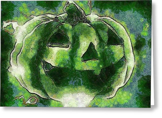 Halloween Pumpkin Greeting Card by Sarah Kirk