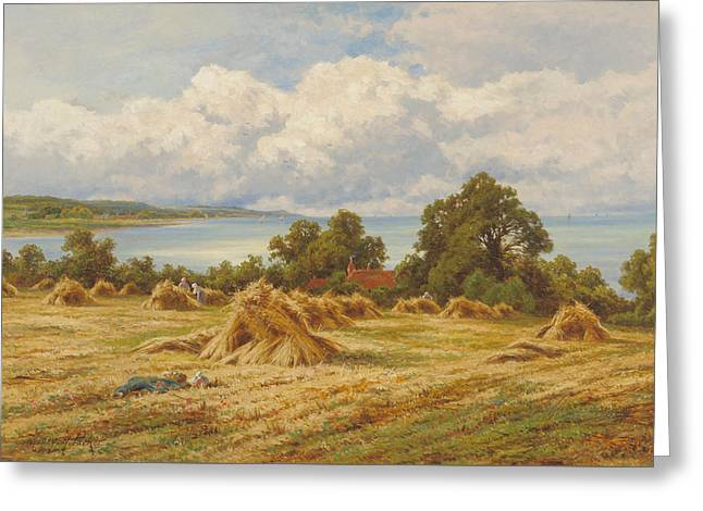 Harvest Time On The Sussex Coast Greeting Card by Henry Hillingford