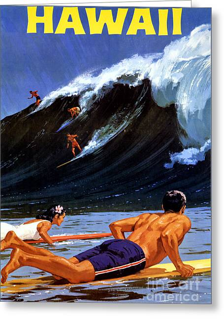 Hawaii Vintage Travel Poster Restored Greeting Card
