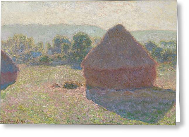 Haystacks Midday Greeting Card by Claude Monet