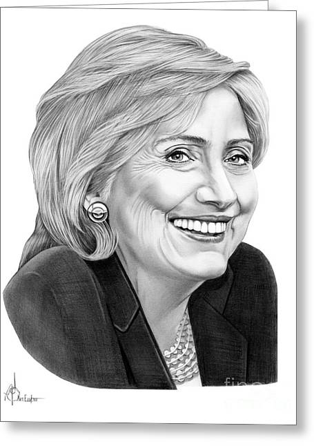 Hillary Clinton Greeting Card by Murphy Elliott