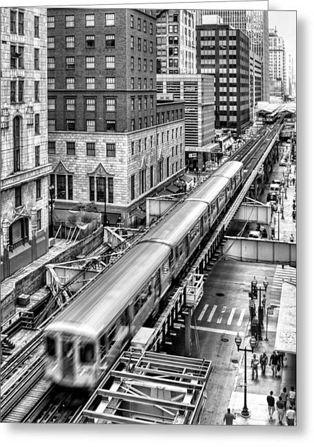 Historic Chicago El Train Black And White Greeting Card