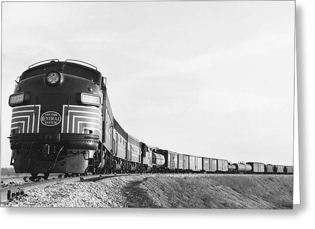 Historic Freight Train Greeting Card by Omikron