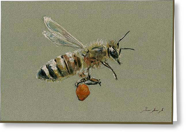 Honey Bee Watercolor Painting Greeting Card by Juan  Bosco