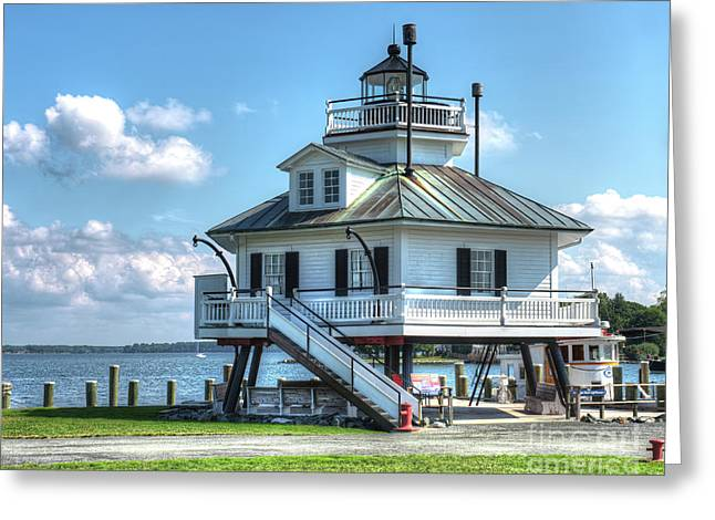 Hooper Strait Lighthouse Greeting Card by Greg Hager
