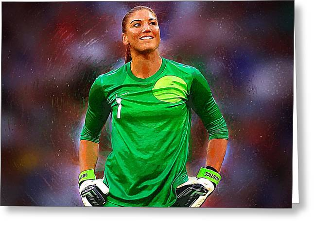 Hope Solo Greeting Card by Semih Yurdabak