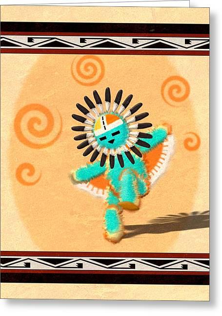 Dancing Hopi Sun Face Kachina Greeting Card