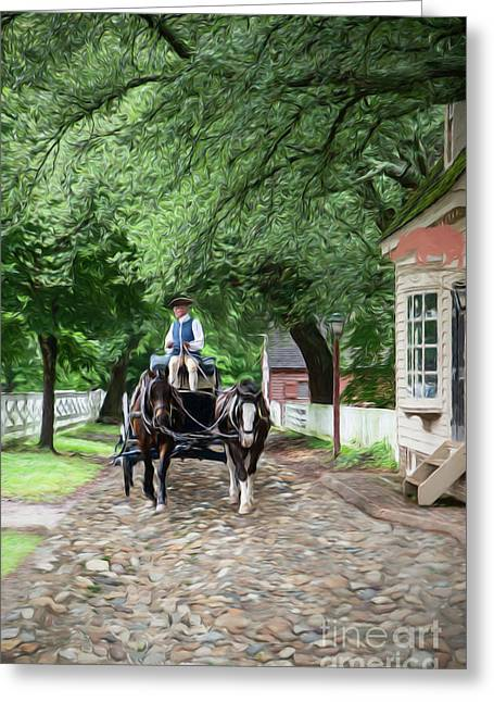 Horse Drawn Wagon Greeting Card