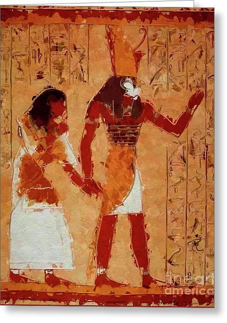 Horus, Egyptian God By Mary Bassett Greeting Card