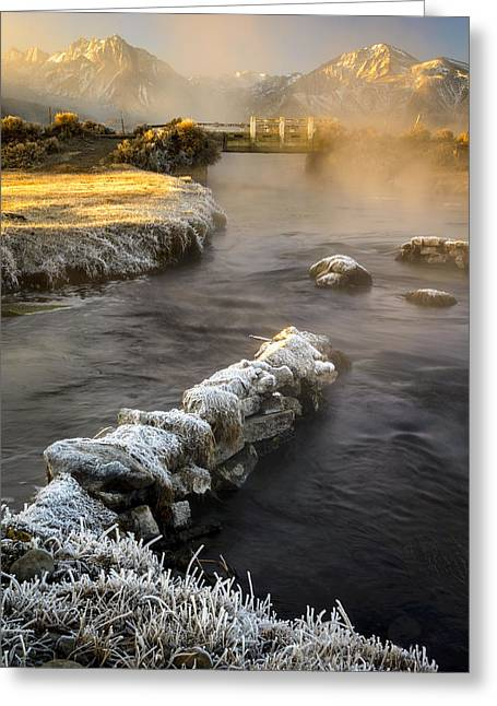 Hot Creek In Winter Greeting Card