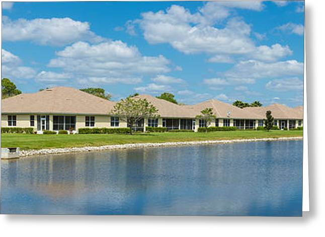 Houses Around Small Lake In North Port Greeting Card by Panoramic Images