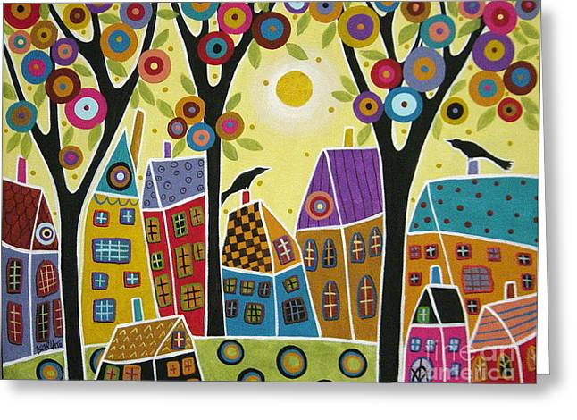 Houses Trees And Birds Greeting Card