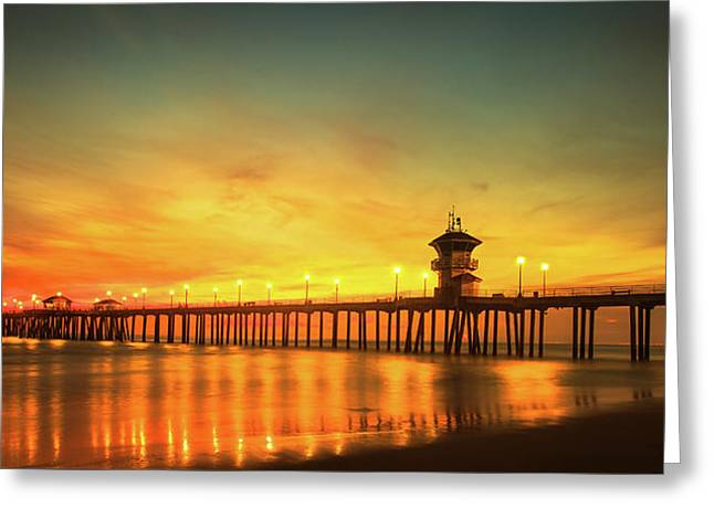 Huntington Beach Sunset Greeting Card