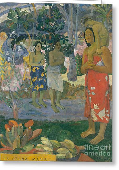 Ia Orana Maria  Hail Mary Greeting Card by Paul Gauguin
