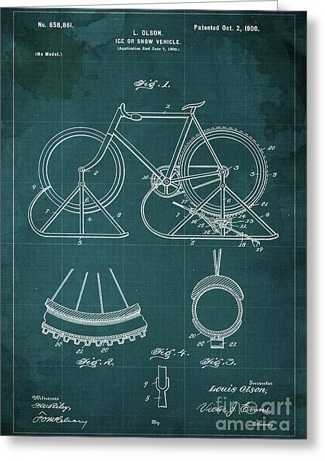 Ice Or Snow Vehicle Patent Year 1900 Greeting Card