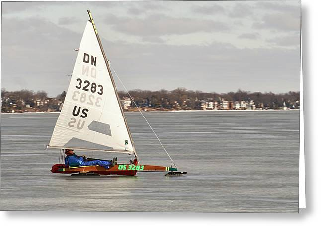 Ice Sailing - Madison, Wisconsin Greeting Card by Steven Ralser