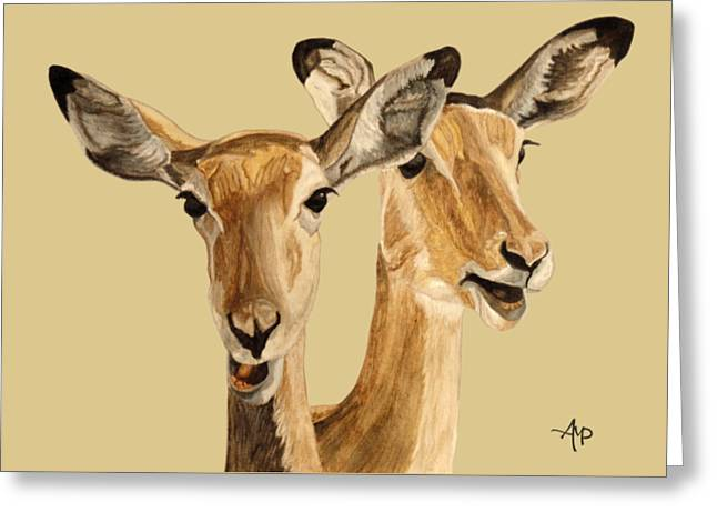 Greeting Card featuring the painting Impalas by Angeles M Pomata