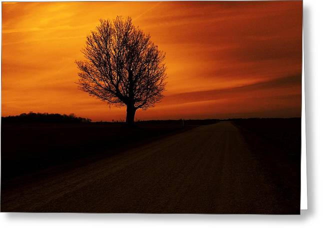 Indiana Sunset Greeting Card by Michael L Kimble