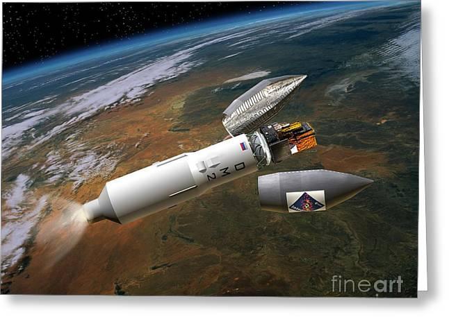 Integral Satellite Launch, Artwork Greeting Card by David Ducros