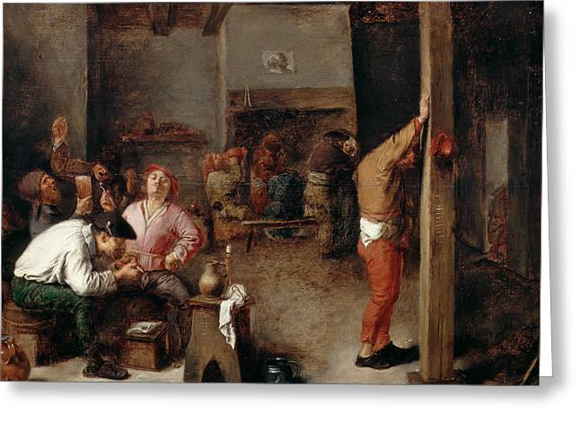 Interior Of A Tavern Greeting Card by Adriaen Brouwer