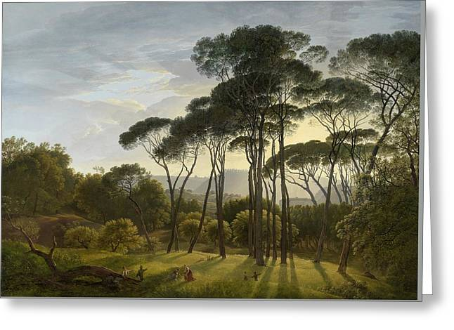 Italian Landscape With Umbrella Pines Greeting Card by Hendrik Voogd