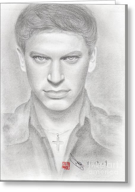 Greeting Card featuring the drawing Italian Singer Patrizio Buanne by Eliza Lo