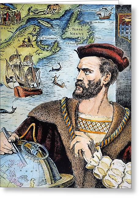 Jacques Cartier (1491-1557) Greeting Card by Granger