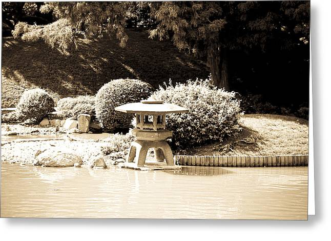Japanese Hill And Pond Garden New York Greeting Card by Mickey Clausen