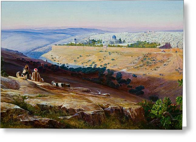 Jerusalem From The Mount Of Olives Greeting Card by Edward Lear
