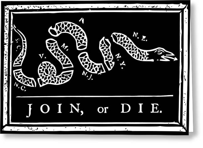Join Or Die - Black And White Greeting Card