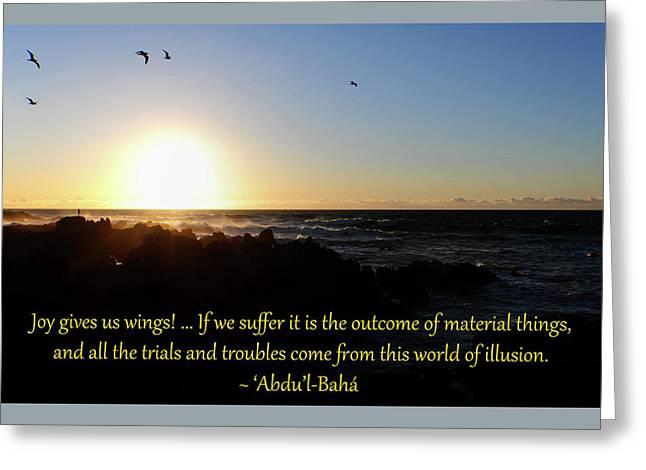 Joy Gives Us Wings Greeting Card by Baha'i Writings As Art