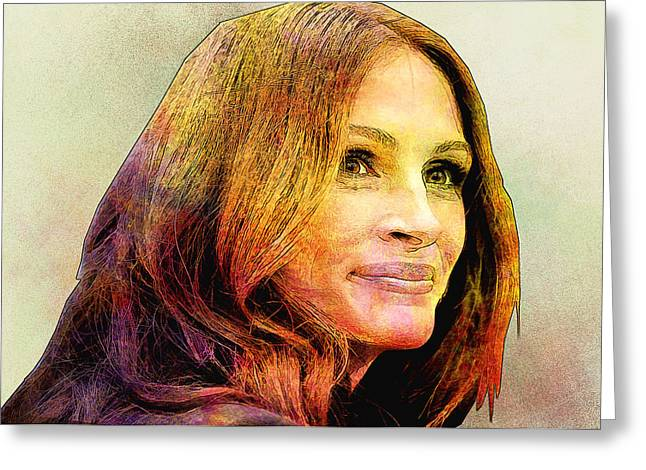 Julia Roberts Greeting Card by Elena Kosvincheva