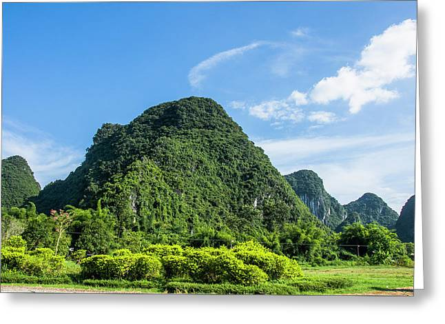 Greeting Card featuring the photograph Karst Mountains Scenery by Carl Ning