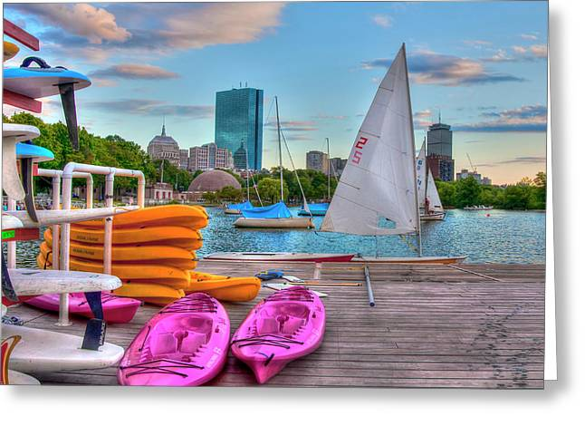 Kayaking On The Charles River - Boston Greeting Card by Joann Vitali