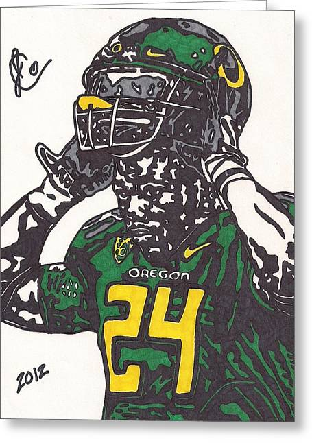 Greeting Card featuring the drawing Kenjon Barner 1 by Jeremiah Colley