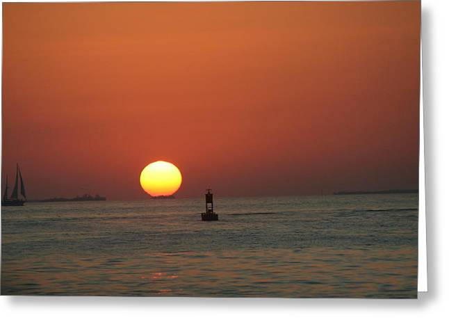 Key West Sunset Greeting Card by Randy Morehouse