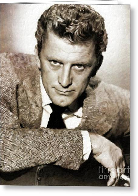 Kirk Douglas Hollywood Actor Greeting Card by Mary Bassett