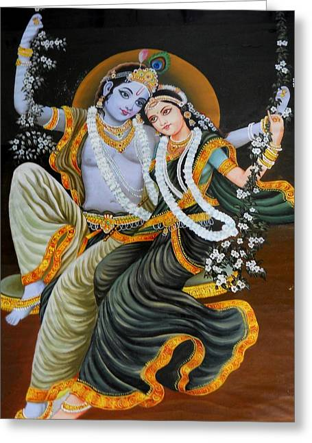Krishna Radha On Silk Greeting Card by Rupali  Motihar