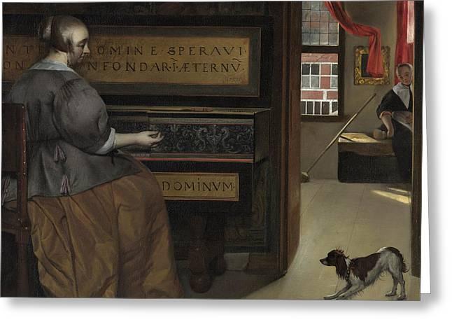 Lady At A Virginal Greeting Card