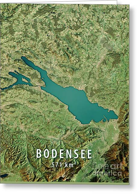 Lake Constance 3d Render Satellite View Topographic Map Greeting Card by Frank Ramspott
