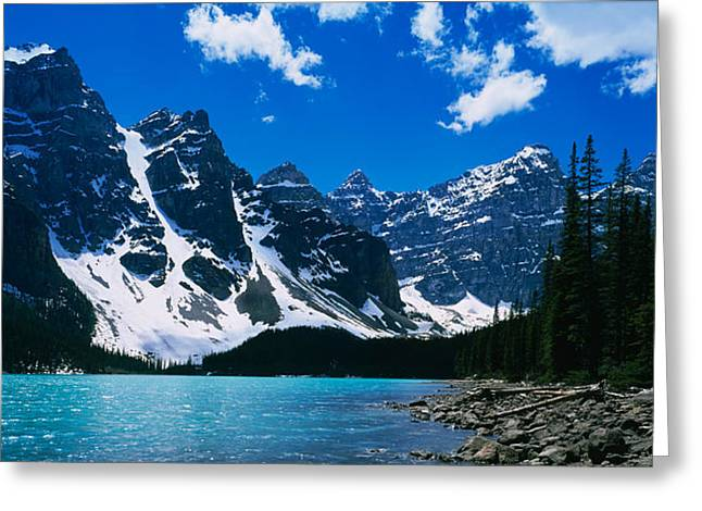 Lake In Front Of Snowcapped Mountains Greeting Card by Panoramic Images