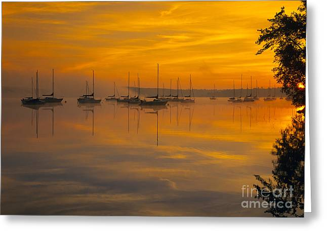 One Sailboat Greeting Cards - Lake Massabesic - Auburn New Hampshire USA Greeting Card by Erin Paul Donovan